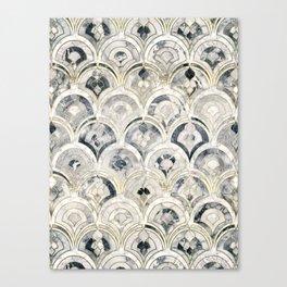 Monochrome Art Deco Marble Tiles Canvas Print