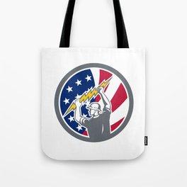 American Electrician USA Flag Icon Tote Bag