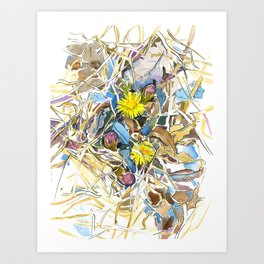 ground beneath my feet in spring: coltsfoot, dry leaves, grass Art Print