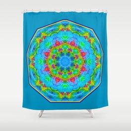 Red Flower Blue Mandala Shower Curtain
