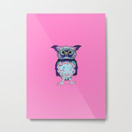 Small Owl Pink Metal Print