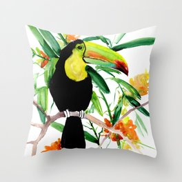Toucan, Tropical Art, tropics Throw Pillow