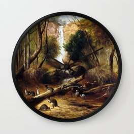 John Skinner Prout Bush landscape with waterfall and an Aborigine stalking native animals, New South Wall Clock