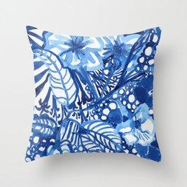 Blue summer floral pattern Throw Pillow