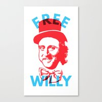 willy wonka Canvas Prints featuring Free Willy (Wonka) by Tabner's
