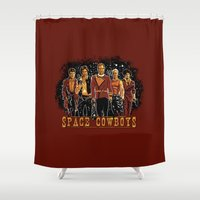 ripley Shower Curtains featuring Space Cowboys by The Cracked Dispensary