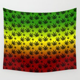 Rasta Cannabis Weed Leaf Pattern Wall Tapestry