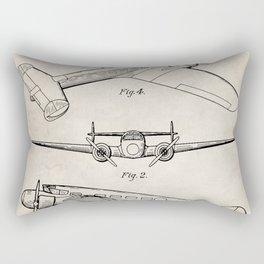Lockheed Airplane Patent - Electra Aeroplane Art - Antique Rectangular Pillow
