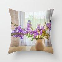 iris Throw Pillows featuring Iris by Svetlana Korneliuk