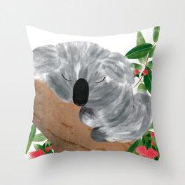 Sleepy Koala   Sweet Dreams   Red Flowers Throw Pillow
