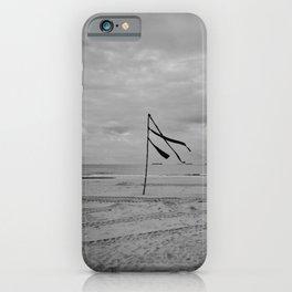 A flag can wave all day - Scheveningen The Hague Netherlands photo | Black and white monochrome noir beach ocean wind minimal nature photography art print iPhone Case
