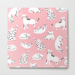 Cat Pattern - Pink Metal Print