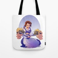 belle Tote Bags featuring Belle by Samanthadoodles