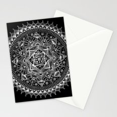 White Flower Mandala on Black Stationery Cards