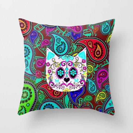 Hipster Cat Sugar Skull Teal Pink Retro Paisley Pattern Throw Pillow