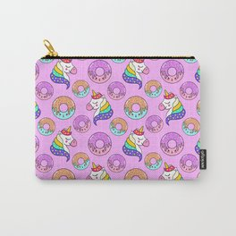Cute happy funny colorful dreaming magical fantasy unicorns, sweet yummy Kawaii adorable donuts cartoon pastel baby pink pattern design. Carry-All Pouch