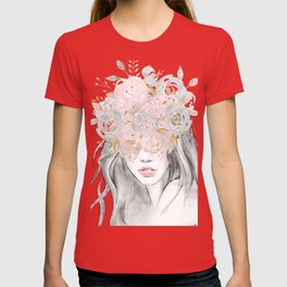She Wore Flowers in Her Hair Rose Gold by Nature Magick T-shirt