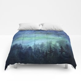 Watercolor Galaxy Nebula Northern Lights Painting Comforters