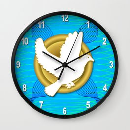 Dove on Gold Plate Pattern Wall Clock