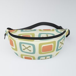 Mid Century Modern Squares Lines Green Orange Blue Fanny Pack