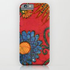batik butterflies and flowers on red 2 iPhone 6s Slim Case
