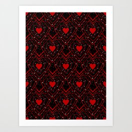 Black And Red Hearts Art Print