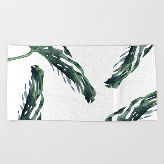 Tropics Palm Leaves Green Beach Towel