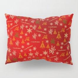 red Merry christmas text in gold, beautiful reindeer, green fir trees, bright stars festive, elegant Pillow Sham