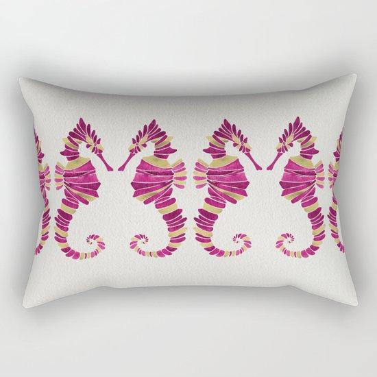 Seahorse – Pink & Gold Rectangular Pillow