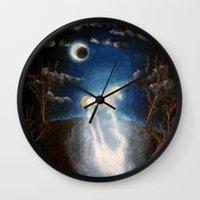 the last unicorn Wall Clocks featuring Last unicorn by Zuzana Ondrejkova