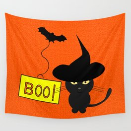 Cute cat on Halloween Wall Tapestry