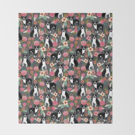 Boston Terrier floral dog breed pet art must have boston terriers gifts Throw Blanket