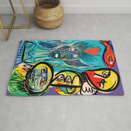 Red Fish and a Spirit of Love Street Art Graffiti Rug