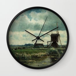 Willem Roelofs  - Polder Landscape With Windmill Near Abcoude Wall Clock