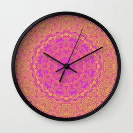 Pink, Orange, and Yellow Kaleidoscope 4 Wall Clock