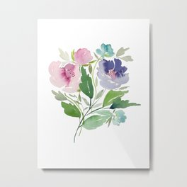 Purple and Pink Peonies Metal Print