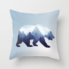 Bear Double Exposure Surreal Wildlife Animal Grizzly Wilderness Outdoors Throw Pillow