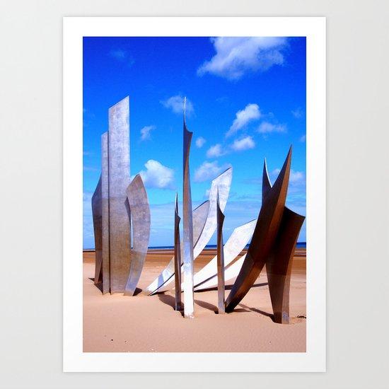 Les Braves at Omaha Beach Art Print