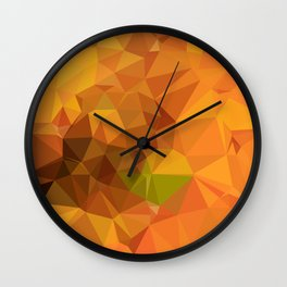 Deep Carrot Orange Abstract Low Polygon Background Wall Clock
