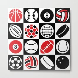 Sport Ball Checkerboard Metal Print