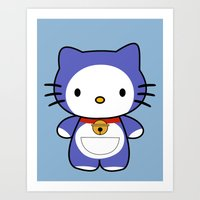 doraemon Art Prints featuring Hello Doraemon by kourai