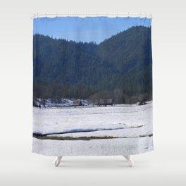 Beautiful wintry day in Hayfork, California.... Shower Curtain