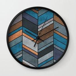 Colorful Concrete Chevron Pattern - Blue, Grey, Brown Wall Clock