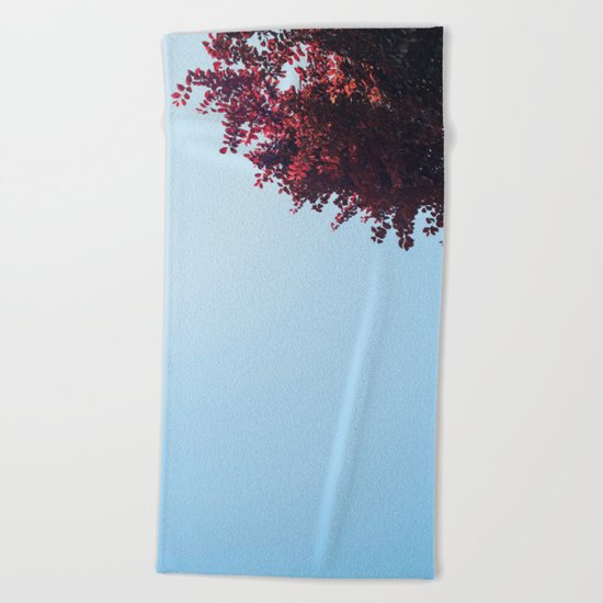 Dear red tree Beach Towel
