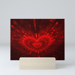 Cupid's Arrows | Valentines Day | Love Red Black Heart Texture Pattern Mini Art Print