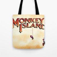 monkey island Tote Bags featuring Monkey Island - Treasure found! by Sberla