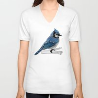 jay fleck V-neck T-shirts featuring Blue Jay by Ben Geiger