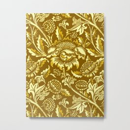 William Morris Sunflowers, Mustard and Golden Yellow Metal Print