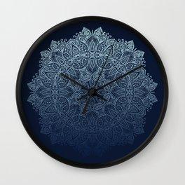 Mandala Deep Blue Bohemian Ombre Wall Clock