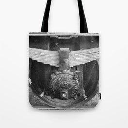 Old train wheel BW Tote Bag